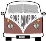 GONE CAMPING Slogan For Retro SPLIT SCREEN VW Camper Van Bus Design External Vinyl Car Sticker 90x80mm